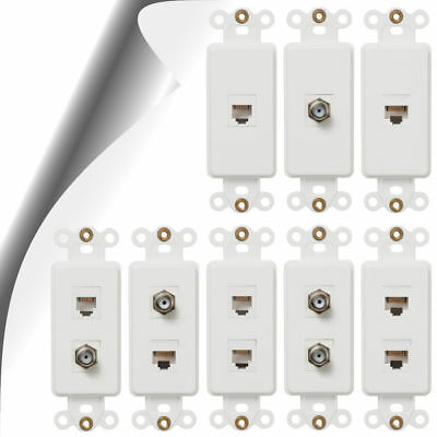 Phone Jack, Cable, Data Rocker Insert White Connection Devices Combination Jacks