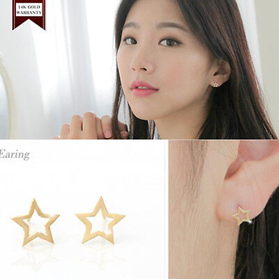 14K Solid Yellow Gold Star Shape Stud a Pair of Earrings w/ Silicone plugs TPD
