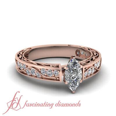 1 Carat GIA Marquise Cut Diamond Retro Engagement Rings For