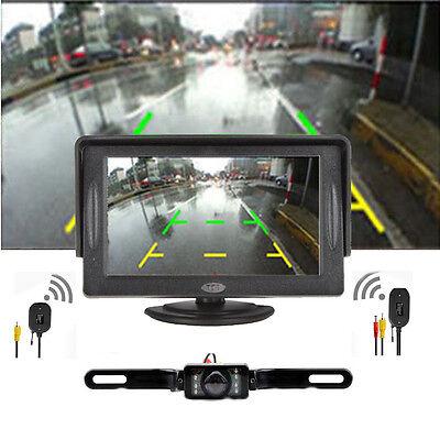 Car Backup Camera Rear View System Night Vision + Wireless 4.3