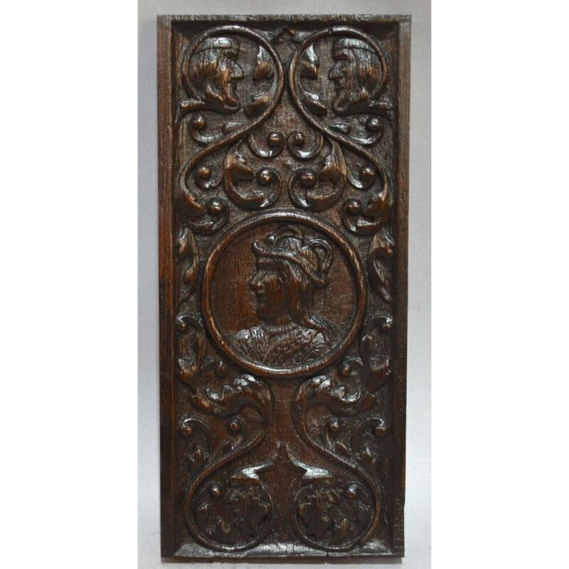 Antique Carved Oak English Tudor Romayne Figural Panel Jester, 17th century
