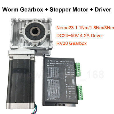 Nema23 Stepper Motor Driver Kit Rv030 Worm Gearbox Speed Reducer For Cnc Router