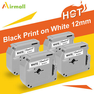 4pk Compatible For Brother M-k231 P-touch Label 12mm White Tape Mk231 Pt90 Pt80
