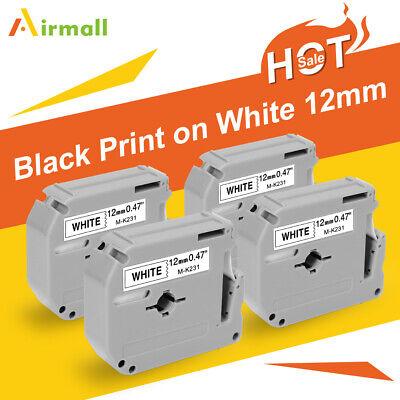 4pk M-k231 Mk231 Fit Brother P-touch M Tape 12mm White Label Maker Pt90 Pt80 70