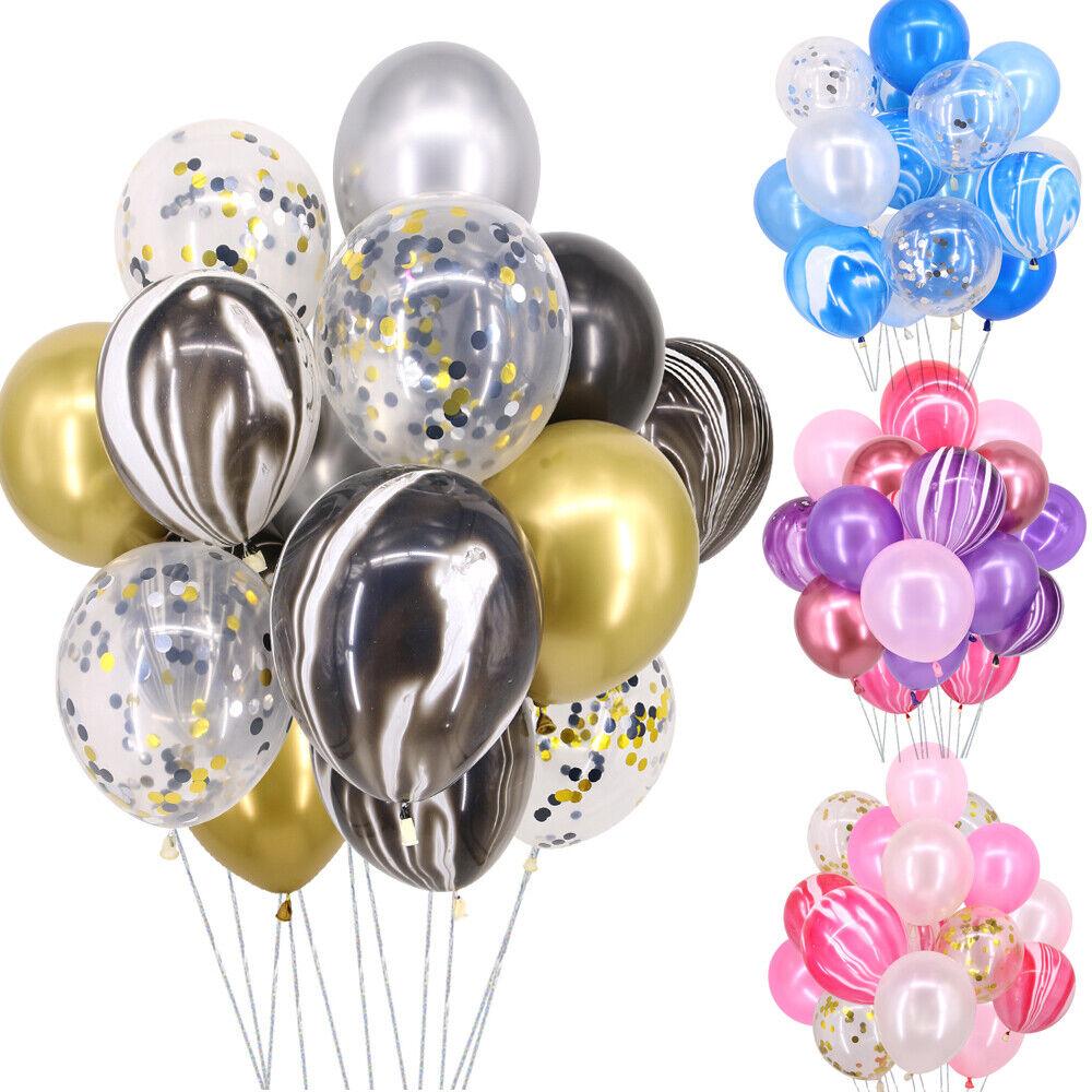 40 Luftballons Konfetti Metallic Helium Hochzeit Latex Geburtstag Luftballon