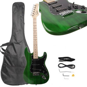 Glarry GST 6 String Basswood Electric Guitar With Pickguard Full Set Green