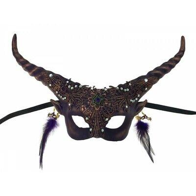 Purple Fawn Halloween Fancy Half Mask Adult Horns Mystical Spirit Animal