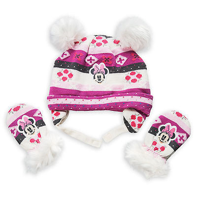 Disney Store Minnie Mouse Winter Beanie Hat & Mittens Set for Baby Size 6-12M (Mouse Mittens)