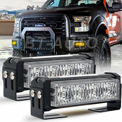 Emergency Vehicle Strobe Lights (Pair 20W AMBER LED Emergency Warning Strobe Lights Bars For Deck Dash Grill )