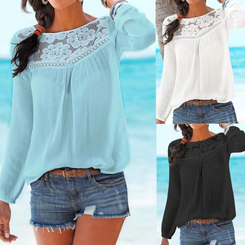 Women Casual Long sleeve Lace O-Neck Patchwork Tops Blouse Autumn Clothes Tops
