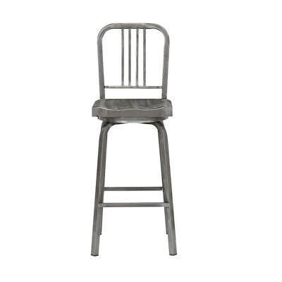 Stylewell Stool Bar Swivel High Back Foot Rest Industrial Seat Square Metal Gray