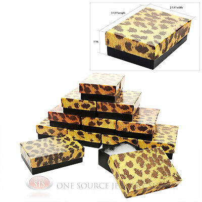 12 Leopard Print Cotton Filled Gift Boxes 3 14 X 2 14 Charm Pendant Jewelry