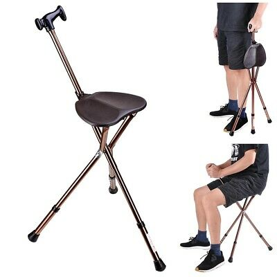 Folding Walking Stick w/ Seat Adjustable Height Tripod Travel Cane Hiking Chair