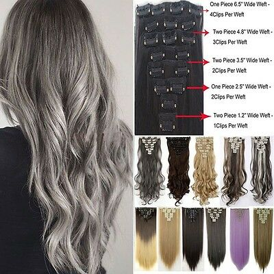 Mega Thick 18Clips Clip in Full Head Hair Extensions Extension As Human Hair - White Hair Extensions