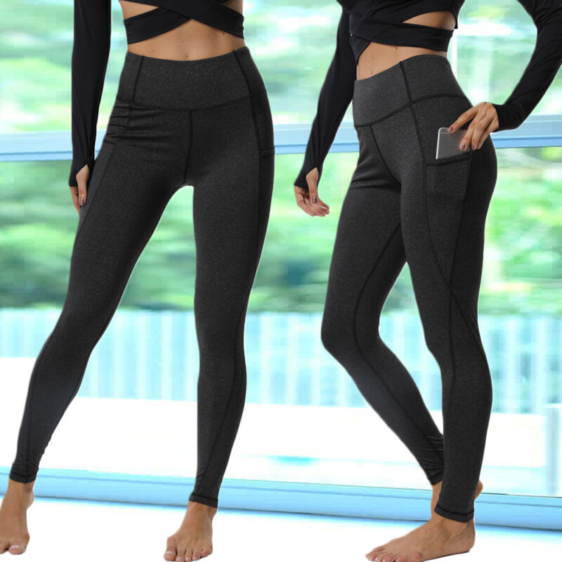 Women High Waist Yoga Leggings Pocket Pants Fitness Sport Gym Workout Athletic G 8