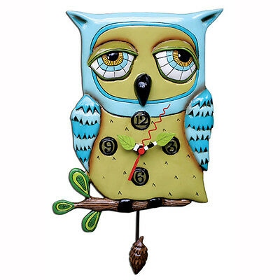 Allen Designs Old Blue Owl Pendulum Wall Clock