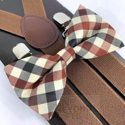 Ties And Suspenders (Suspender and Bow Tie Adults Men Ivory Dark Brown Wedding Formal)