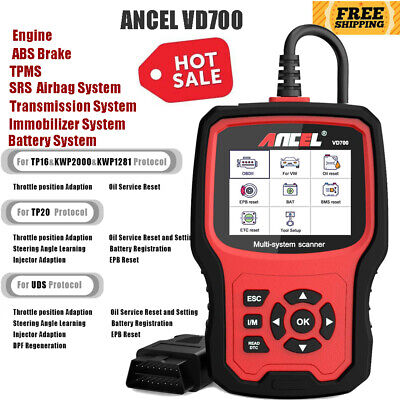 All Systems Diagnostic Scanner ABS SRS AIRBAG DPF EPB Oil TPMS OBD2 Code Reader
