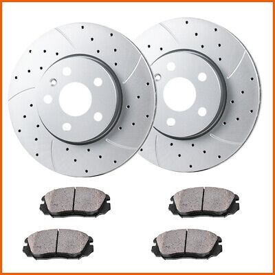 Front Drilled Slotted Brake Rotors and Ceramic Pads For Chevy Equinox Terrain