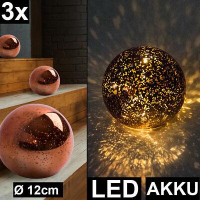 3x LED Deko Tisch Leuchten Stern Effekt Wohn Zimmer Glas Kugel Lampen bronze