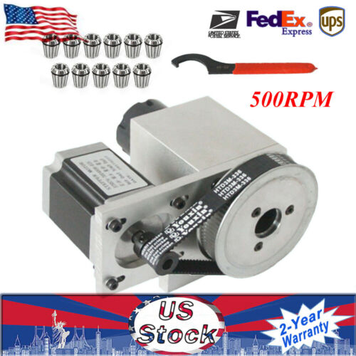 CNC Rotational Hollow Shaft 4th Rotary Axis Router Rotational ER32 3-20mm Chuck