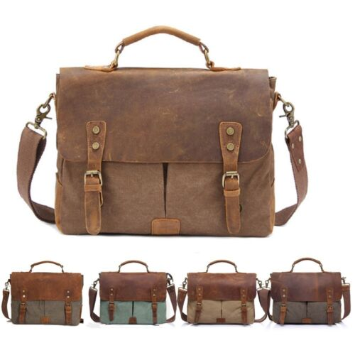Bag - Men's Leather Canvas Laptop Messenger Shoulder Bag  Business Briefcase Satchel