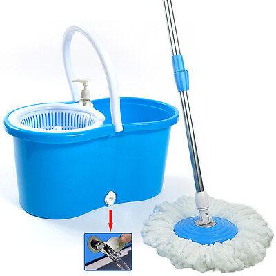 360  Easy Magic Floor Spinning Mop Bucket Set 2 Microfiber Rotating Heads Blue