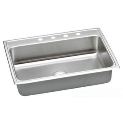 Elkay Lustertone Single Bowl Top Mount Stainless Steel ADA Kitchen Sink Elkay Lustertone Ada Sink Bowl