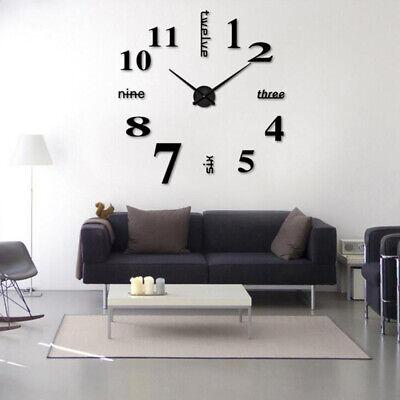 Large Wall Clock Big Watch Decal 3D Stickers Roman Numerals DIY Wall Modern Home Roman Home Decor