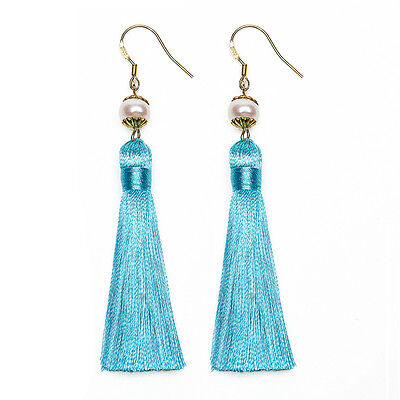 Breakfast at Tiffany's 24k Gold Plated Tassels and Pearls Earrings (Blue)