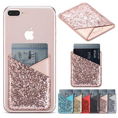Bling Credit Card Wallet Holder Back Pocket Stick-On Adhesive For Mobile Phone