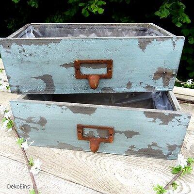 2 x Deko Schublade Holz (Set) Antik Maritim Vintage Pflanztopf Shabby Blumentopf