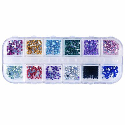 1200pcs Nail Art Rhinestones Glitters Acrylic Tips Decoration Manicure Wheel N3
