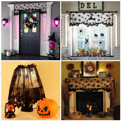 Halloween Black Lace Spider Web Topper Lamp Shades Fireplace Mantle Scarf Cover](Spider Web Lights)