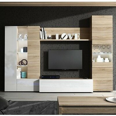 Essential TV Media Unit Living Room Furniture Oak+White Melamine + Glass & LED