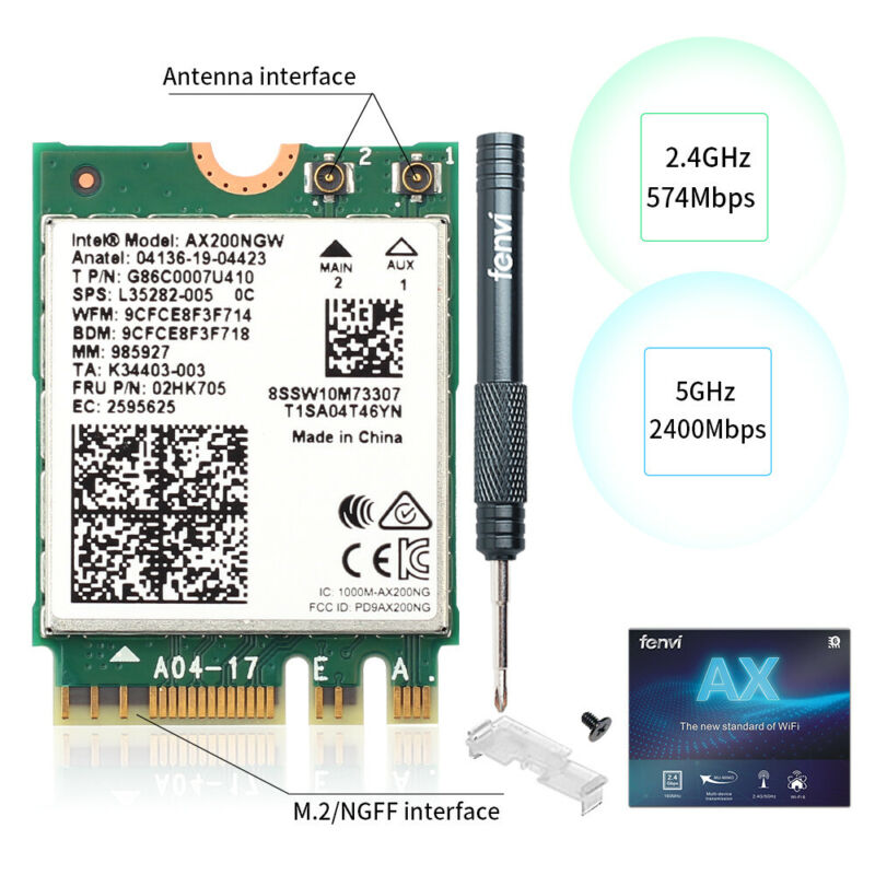 WiFi 6 BT5.1 NGFF Intel AX200NGW Dual Band WiFi Card better than 9260NGW MU-MIMO