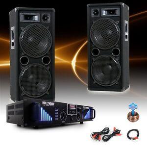 3000 Watt PA Party Set Musikanlage Boxen Lautsprecher Bluetooth USB Verstärker