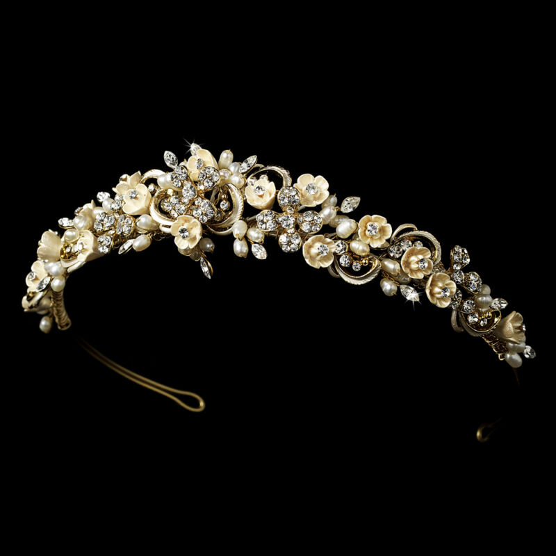 Champagne Gold Ivory Porcelain Flower Pearl Crystal Bridal Headband Tiara Crown