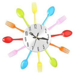 Multicolors Fashionable Fork Spoon Kitchen Cutlery Wall Clock Home Decoration