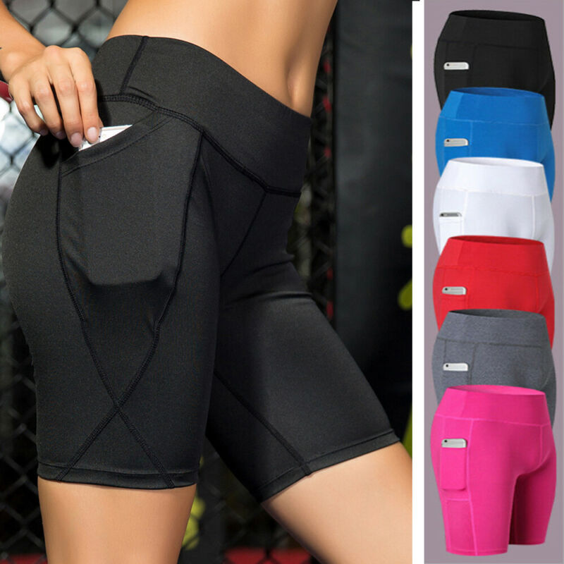 Women High Waist Yoga Shorts Biker Hot Pants Pockets Gym Cyc