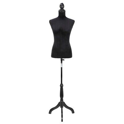 Homegear Female Lady Mannequin Torso Form W Tripod Stand For Displays Black
