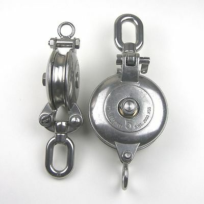 Stainless Steel T316 Snatch Block With Swivel Eye - 4 Sheave Rigging Block