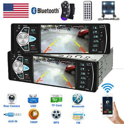 4.1'' 1DIN Car HD Single Radio Stereo MP5 Player Bluetooth AUX USB FM  + Camera
