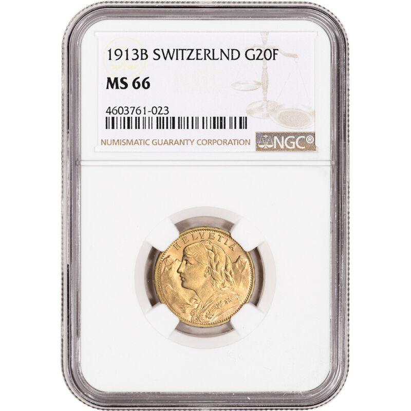 1913 B Switzerland Gold 20 Francs - NGC MS66