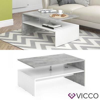 VICCO Couchtisch AMATO in Weiß Beton - Wohnzimmer Sofatisch Kaffeetisch Couch, Couchtisch