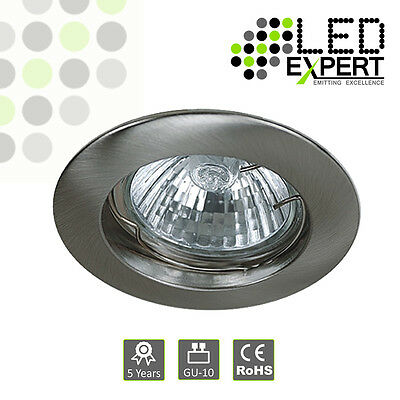 5 x Nickel Quality Cast GU10 Downlight Fixed Ceiling Spotlight Recessed Chrome - Nickel 5 Cast