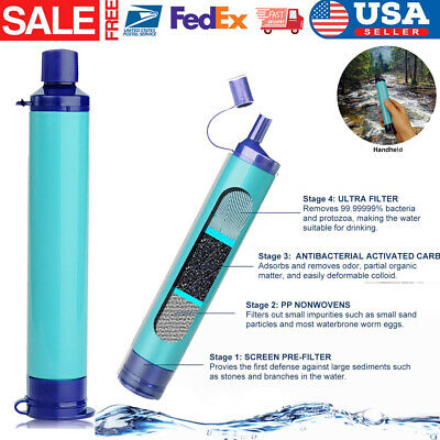 Military 99.99/% Water Filter Purification Emergency Gear Straw Camping Hik MW XL