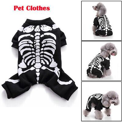 Halloween Skelett Haustier Hund Welpen Kleidung Cosplay Kostüm Horror Overall