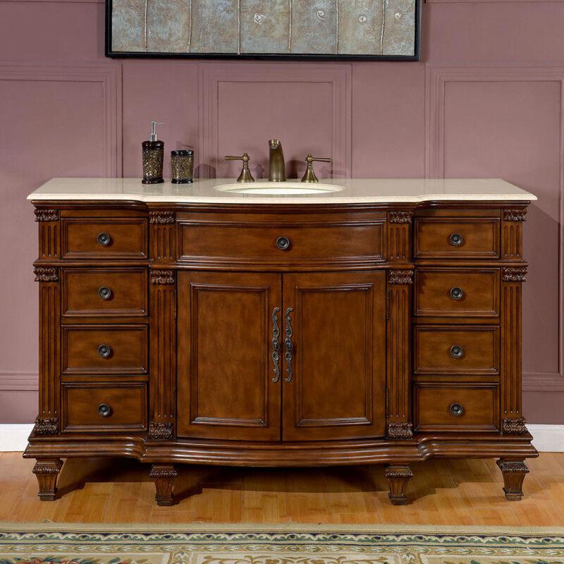 60-inch Marble Stone Counter Bathroom Vanity Single Sink Lavatory Cabinet 0277CM