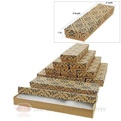 12 Damask Print Kraft 8 X 2 Cotton Filled Jewelry Gift Boxes